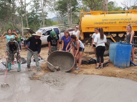 student building wildlife watering hole Thailand